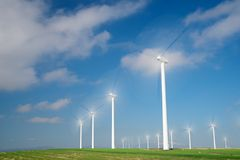 Wind energy concept. Windmills for electric power production, Zaragoza province, Aragon, Spain Stock Photography