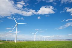 Wind energy concept. Windmills for electric power production, Zaragoza Province, Aragon, Spain Royalty Free Stock Photography