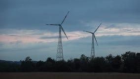 Wind energy technology - turbine, chicken pox, energy production - green technology. Wind energy Electricity Development of ecology Green Zone stock footage