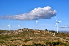 Wind energy in Fafe mountains Royalty Free Stock Photos