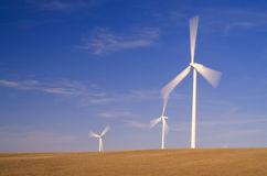 Wind Energy Farm. In a grain field producing electrical power Royalty Free Stock Photo