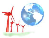 Wind energy farm and blue earth Stock Photos