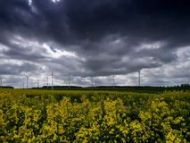 Wind energy field with fantastic dramatic sky stock photos