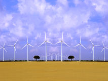 Wind energy field with wind turbines. stock image