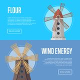 Wind energy flyers with old windmill buildings. Organic agricultural farming and flour production, ecological food manufacturing, clean power. Medieval stock illustration