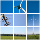Wind energy grid. With 3 blank (blue) spaces for text Stock Image