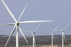 Wind energy. Group of wind turbines for renewable electric energy production stock photography