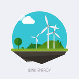 Wind energy. Landscape and industrial factory buildings concept. Vector flat infographic stock illustration