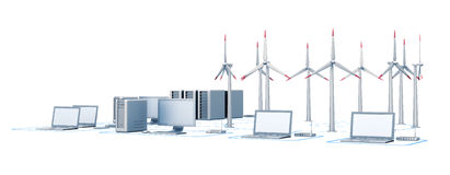 Wind energy and network Stock Photo