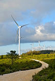 Wind energy park. Eolic park in Portugal. Generators in middle nature Royalty Free Stock Photo