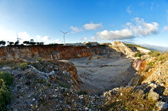 Wind energy park in a quarry Stock Photos