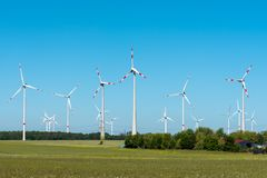 Wind energy plant on a sunny day Stock Photography