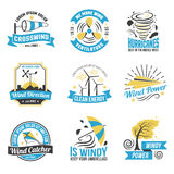 Wind Energy Power Flat Emblems Collection Royalty Free Stock Image