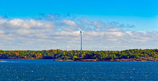 Wind energy power generators in Aland Islands archipelago, Finla Stock Image