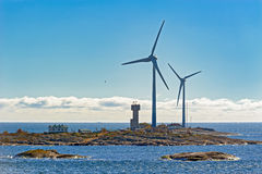 Wind energy power generators in Aland Islands archipelago, Finla Stock Photography