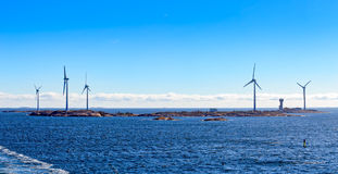 Wind energy power generators in Aland Islands archipelago, Finla Stock Images