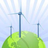 Wind energy saving the earth. Vector illustration as background with three wind energy turbines on a green new earth, with clean energy and a bright future Stock Photo