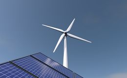 Wind energy and solar panels. Royalty Free Stock Photo