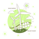 Wind energy and solar power concept Royalty Free Stock Images