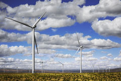Wind Energy. This wind turbine farm is on a flat desert area above the Columbia River Gorge on the Oregon side of the river Stock Photography
