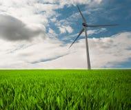 Wind energy. Wind turbine on the field Stock Photo