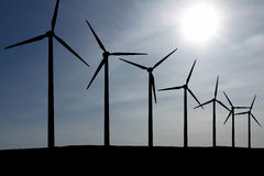 Wind Energy. Wind Turbines in front of a blue sky Stock Photo