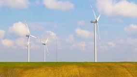 Wind energy turbines are one of the cleanest, renewable electric energy source stock video footage