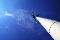Wind energy under blue sky Stock Photos
