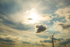 Wind energy under a dramatic sky Stock Images