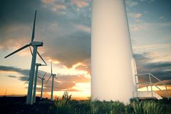 Wind energy view. Windmills for electric power production at sunset, Zaragoza Province, Aragon, Spain Royalty Free Stock Photos