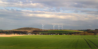 Wind energy on the village. stock image