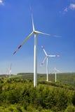 Wind energy,white turbine Royalty Free Stock Image