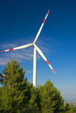 Wind energy,white turbine Royalty Free Stock Images