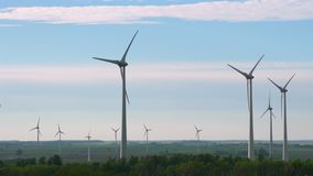 Wind energy, wind power, wind turbine. 4k stock footage