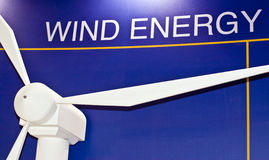 Wind Energy -  Wind Turbine. Wind Turbine with text behind Stock Photo