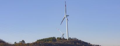 Wind energy. Wind turbines for the production of clean energy and conservation of the environment. Trentino, Italy.  stock photo