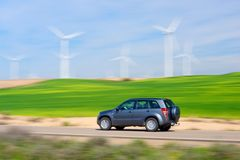 Wind energy. Windmills for electric power production and car, Zaragoza province, Aragon, Spain Royalty Free Stock Photo