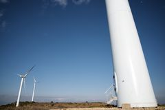 Wind energy. Windmills for electric power production, Huesca province, Aragon, Spain Stock Photography