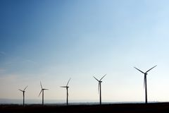 Wind energy. Windmills for electric power production, Zaragoza, Aragon, Spain Royalty Free Stock Photos