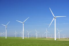 Wind energy. Windmills for electric power production, Zaragoza province, Aragon, Spain Stock Photo