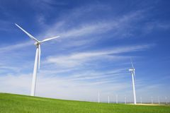 Wind energy. Windmills for electric power production, Zaragoza province, Aragon, Spain Royalty Free Stock Image