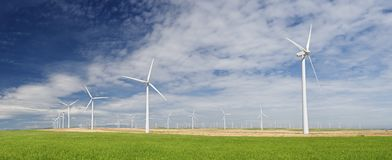 Wind energy. Windmills for electric power production, Zaragoza province, Aragon, Spain Royalty Free Stock Photo
