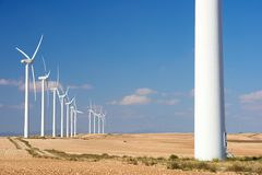 Wind energy. Windmills for electric power production, Zaragoza province, Aragon, Spain Stock Image