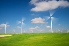 Wind energy. Windmills for electric power production, Zaragoza province, Aragon, Spain Royalty Free Stock Images