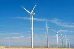 Wind energy. Windmills for electric power production, Zaragoza province, Aragon, Spain Stock Photography