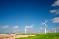 Wind energy. Windmills for electric power production, Zaragoza province, Aragon, Spain Stock Photos