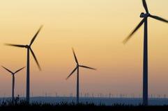 Wind energy. Windmills for renewable electric energy production, La Muela, Zaragoza, Aragon, Spain Royalty Free Stock Image