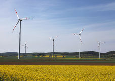 Wind engine. Wind turbines in lower austria Royalty Free Stock Photography