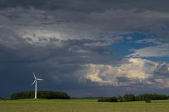 Wind engine and raising storm. The picture shows a cloudy sky stock image