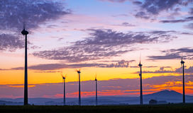 Wind engines at dawn Royalty Free Stock Photos